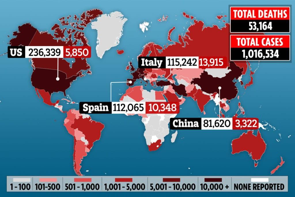 Coronavirus: Global case count exceeds 1 million