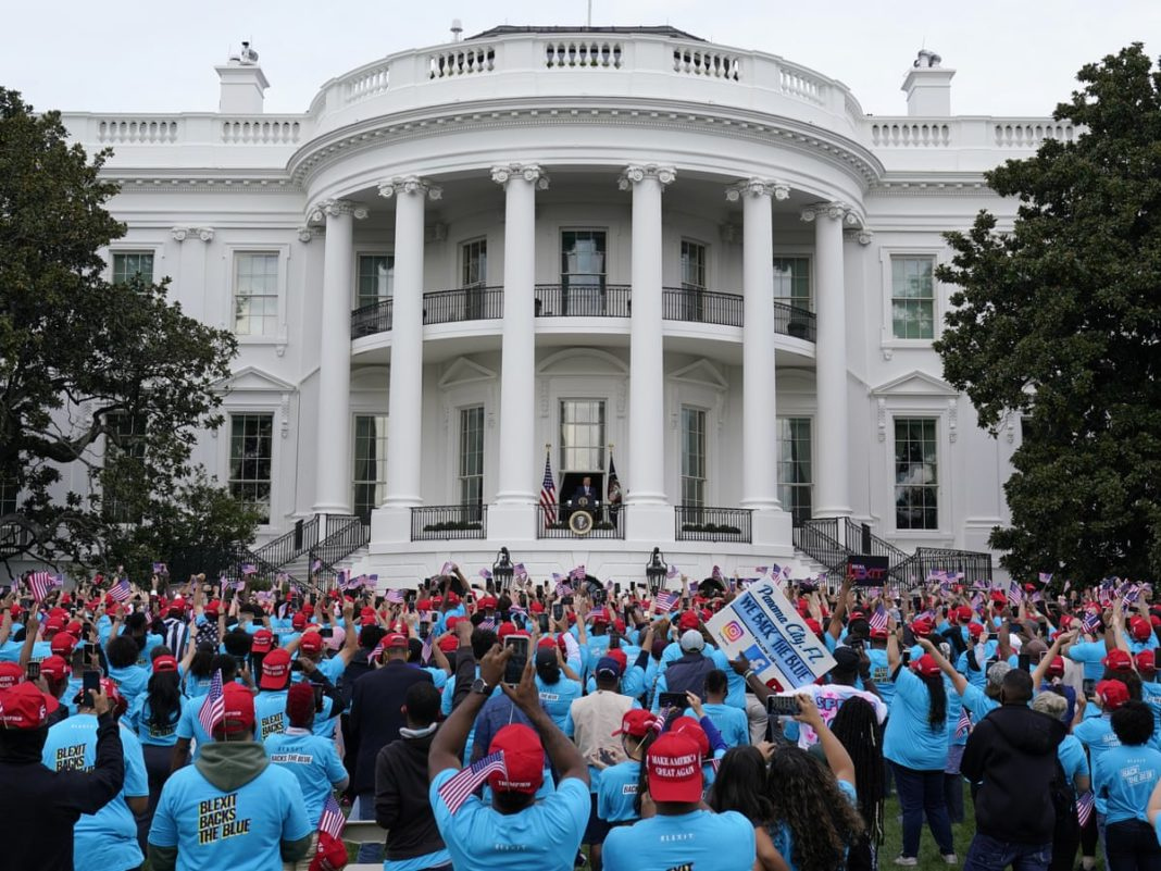 Trump addresses rally near White House